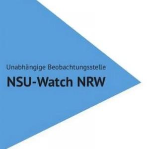 """blaues Dreieck mit Schriftzug: Unabhängige Beobachtungsstelle NSU-Watch NRW"""""""
